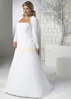 Us 239 99 White A Line Long Sleeves Sweep Satin Chiffon Plus Size Wedding