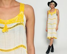 Bohemian Dress 70s Sheer CROCHET Cotton Gauze by ShopExile on Etsy