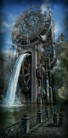 The Time Machine by Dmitriy Filippov Steampunk fantasy water mill Fantasy Places, Fantasy Landscape, Sci Fi Fantasy, Fantasy World, Style Steampunk, Steampunk Fashion, Steampunk Clock, Steampunk Theme, Steampunk City