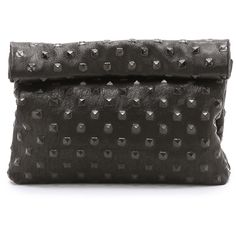 Marie Turnor Accessories The Pyramid Stud Lunch Clutch (1.935 VEF) ❤ liked on Polyvore featuring bags, handbags, clutches, black, black handbags, real leather handbags, black leather purse, genuine leather handbags and genuine leather purse