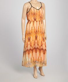 Another great find on #zulily! Orange Abstract Maxi Dress - Plus #zulilyfinds