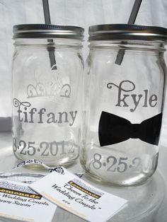 TWO Wedding name PERSONALIZED Mason Jars by bittersweetlemonade, $30.00