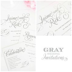 Gray wedding invitations featuring delicate script type! Charming Script Wedding Invitations by Shine Wedding Invitations