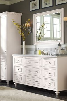 Ready for a bathroom remodel? Find inspiration and organization must-haves for large and small bathroom spaces from Omega Cabinetry. Cheap Bathroom Vanities, Bathroom Sink Units, Custom Bathroom Cabinets, Custom Cabinets, Small Bathroom, Bathroom Ideas, Bathrooms, Bertch Cabinets, Recessed Medicine Cabinet