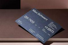 Visual identity for a brand director Max Schwarz designed by Hamburg based design studio rasmus und christin. Via rasmusundchristin. Corporate Identity Design, Visual Identity, Branding Design, Brand Identity, Graphic Design Studios, Graphic Design Art, Print Design, New York City, Typographic Design