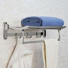 Folding Towel Rack With Bar - Chrome