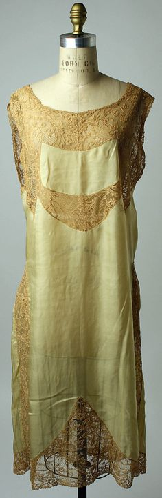 Silk nightgown with cotton lace edging and inserts, by Christophe, French, 1920's.