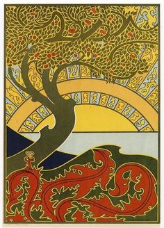 Gisbert Combaz • Art Nouveau Tree • Circa 1896    Gisbert Combaz (1861-1941) was one of the leading Belgian practitioners of the Art Nouveau style, popular in the late 19th and early 20th centuries.
