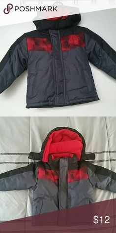 Toddler Boys Coat Grey coat with black and red detail. Red fleece lined collar and hood. Only worn a few times. Still in great condition. Jackets & Coats Puffers