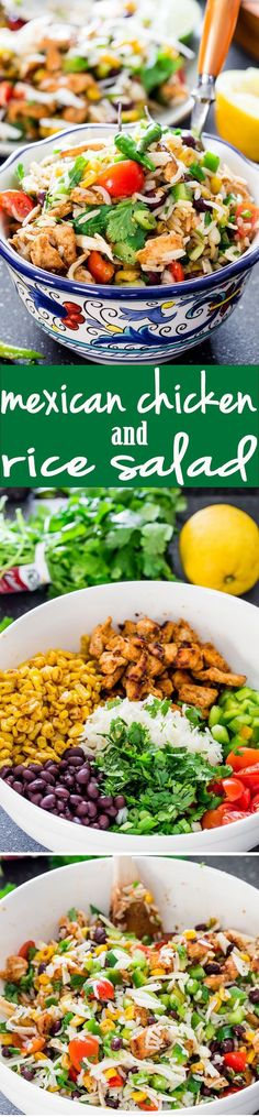Mexican Chicken and Rice Salad a fresh summer salad loaded with black beans chicken corn and rice Totally addicting and makes the perfect dinner for a busy weeknight via. Mexican Chicken And Rice, Chicken Rice, Spanish Chicken, Thai Chicken, Chicken Wraps, Chicken Fajitas, Chicken Salad, Mexican Food Recipes, Dinner Recipes