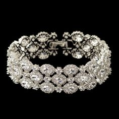 Gorgeous Triple Row Oval CZ Wedding Bracelet,  - Affordable Elegance Bridal -