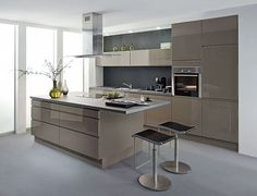 Cuisine laqu e grise recherche google id e ha cuisine pinterest design cuisine et - Keukens amenagees modeles ...