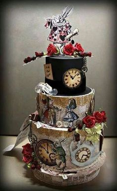 Very cool Alice in Wonderland paper cake. Perfect for an Alice in Wonderland… Crazy Cakes, Fancy Cakes, Beautiful Cakes, Amazing Cakes, Super Torte, Alice In Wonderland Cakes, Disney Cakes, Mad Hatter Tea, Mad Hatters