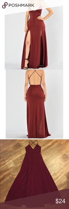 Dream of Me dress ✨ It's a Fashion Nova dress, burgundy color! It's a long dress & backless. I wore it for a wedding & I got a lot of compliments 😊 I love this dress, but I don't think I'll wear it again for another special occasion. Just wore it once! Fashion Nova Dresses