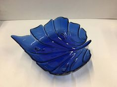 Vintage Cobalt Blue Glass Leaf Shaped DishBlue Glass Cobalt Glass, Cobalt Blue, Im Blue, Blue And White, Glass Centerpieces, Blue Bowl, Blue Things, Crystal Vase, Blue Rooms