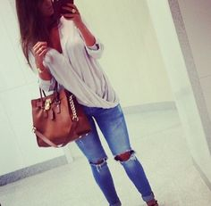 Spring Outfit - Long Sleeve Top - Ripped Skinny Jeans