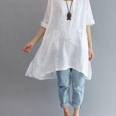 summer Asymmetrical long shirt/ Loose Fitting long shirt/ Leisure Linen long shirt/ Women blouse shirt