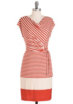 Sea You Real Soon Dress.  Love the way this cowl neck and side tie play with the stripes.  Fun!