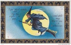 HALLOWEEN : Blue witch riding a broom , Black cat Border - Delcampe.com
