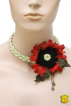Fashion necklace, stylized red poppy from leather, circular braid