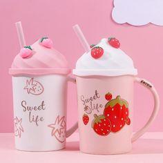 Top Tech Gifts, Sweet Life, Ceramic Mugs, Strawberry, Kawaii, Ceramics, Color, Abaya Fashion, Pastel Goth