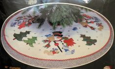 Vintage Titan SNOWMAN Christmas Tree Skirt Felt Embroidery Kit VTNS | eBay