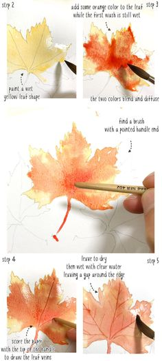 Watercolor Fall Leaves (How to paint Autumn Leaves the Easy Way) Watercolor Painting Techniques, Watercolor Projects, Watercolor Leaves, Easy Watercolor, Watercolour Tutorials, Painting Lessons, Watercolour Painting, Flower Watercolor, Watercolors