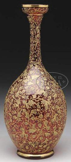 Moser Glass; Vase, Cranberry, Flower Buds & Leaves Gilt Band, 13 inch.