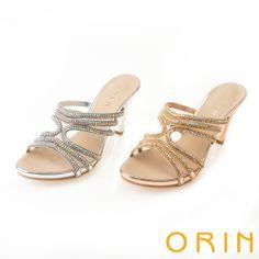 ORIN 迷人耀眼時尚 細緻弧形繞帶鑽鍊高跟涼拖鞋-金色 - Yahoo!奇摩購物中心