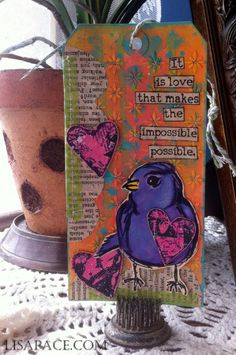 Dina Wakley Scribbly Birds and Collage Hearts Stamp Sets using Dina Wakley Media Paints.