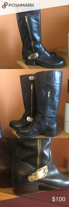 NWOT Vince Camuto leather boots NWOT. NEVER BEEN WORN. Vince Camuto genuine leather riding boots in Size 9. Runs true to size. Dark espresso brown leather with gold buckle and zipper details. Leather is super soft but sturdy. No scratches, scuffs, or stains. Vince Camuto Shoes Winter & Rain Boots