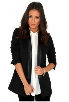 Missguided - Arveta Leather Trim Blazer In Black