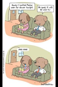 Pavlov Psychology joke lol. Poor doggies. Does it ring a (door) bell? Also, notice how his tie changed from blue to red?