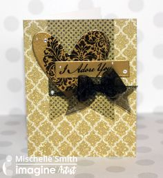 Gold on Gold Valentine's Day card with StazOn ink and Gold Embossing Powder. papercraft. cardmaking. handmade card. gold. black. glitter,