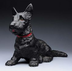 Cast Iron Oversize Sitting Scottie Dog Doorstop
