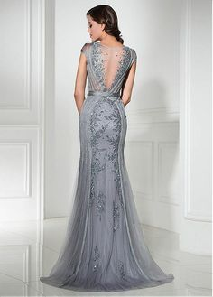 Graceful Tulle Jewel Neckline Sheath Evening Dresses With sold by Prettyprom on Storenvy