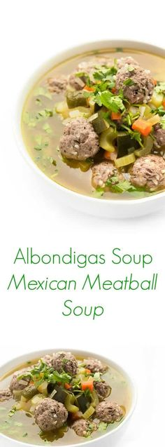 This warm and comforting albondigas soup recipe is packed with hearty vegetables and Mexican-style meatballs. Albondigas Soup Recipe Mexican, Mexican Meatball Soup, Mexican Meatballs, Healthy Canned Soups, Good Healthy Recipes, Easy Recipes, Savoury Recipes, Healthy Meals, Delicious Recipes