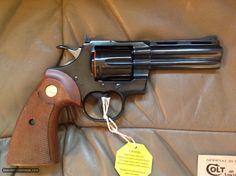 "COLT PYTHON 357 MAGNUM, 4"" BLUE, NEW UNFIRED, UNTURNED, IN BOX, MFG. 1975 Smith And Wesson Revolvers, Colt Python, 357 Magnum, Survival Equipment, Guns And Ammo, Shotgun, Firearms, Hand Guns, Pistols"