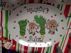 Rudolph handprint & Christmas tree footprint platter. So adorable! Fun Christmas gift to make :)