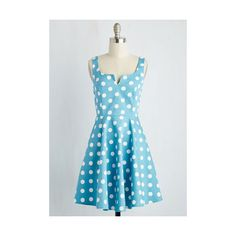Vintage Inspired Mid-length Sleeveless Fit & Flare Wowing Whimsy Dress (4.390 RUB) ❤ liked on Polyvore featuring dresses, apparel, blue, fashion dress, polka dot dress, blue dress, polka dot fit and flare dress, vintage looking dresses and fit flare dress