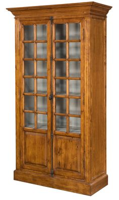 Solid Pine Display Cabinet Traditional Country Style Rich Walnut Finish New #Traditional