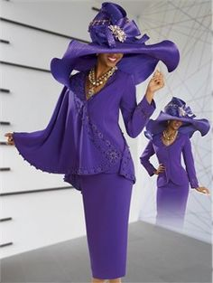 Versatile High Fashion Ladies Church Suit by Donna Vinci in Purple for the Holidays 11043 - $249.00
