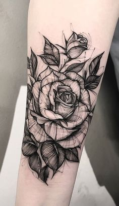 Black and White Sketch Rose Forearm Tattoo Ideas for Women - I .- Schwarz-Weiß-Skizze Rose Forearm Tattoo-Ideen für Frauen – Ideen del tatuaje d … Black and white sketch Rose forearm tattoo ideas for women Ideas del tatuaje d -