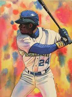 Ken Griffey Jr, watercolor painting by Michael Pattison