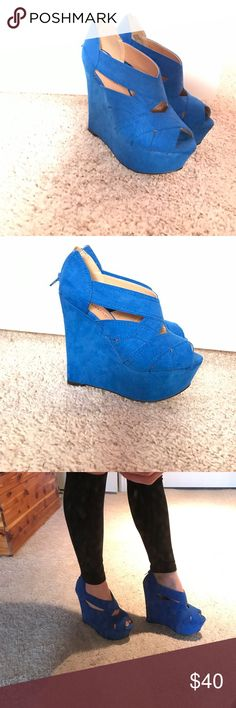 JUSTFAB MAYLEE HEEL - COBALT BLUE Practically 🆕 - ONLY WORN ONE TIME!!! Too big for me!)  Heel is 4.5 inches Size 6.5 JustFab Shoes Wedges