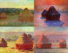 Monet - Haystacks. Het schilderij is eigenlijk 4 schilderijen in een. Er is gebruik gemaakt van vele kleuren en verschillende momenten van de dag. Er is een warm- koud contrast en een licht- donker contrast. Dit zie je vooral op de rechter foto bovenin. De hooibaal is erg donker terwijl de grond licht is. De rode lucht is eg warm, maar de schaduw van de hooibaal koud. Het is realistisch geschilderd.