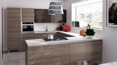 Contemporary Small Kitchens Functional And Smart Small Modern Kitchen - Kitchen Design Ideas Modern Kitchen Cabinets, Kitchen Cabinet Design, Kitchen Layout, Kitchen Interior, Kitchen Ideas, Kitchen Furniture, Kitchen Cupboard, Kitchen Tables, Kitchen Modern