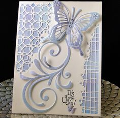 Bday card fro Deva January 2018 Negative dies from China, Butterfly die and flourish from China cut from watercolor paper I created. Designed and created by PeggyDollar