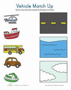 Transportation theme- Kindergarten Sorting & Categorizing Worksheets: Transportation Match Up Worksheet Kindergarten Math Worksheets, Preschool Printables, Preschool Lessons, Preschool Learning, Teaching, Alphabet Worksheets, Free Printables, Printable Worksheets, Fun Learning