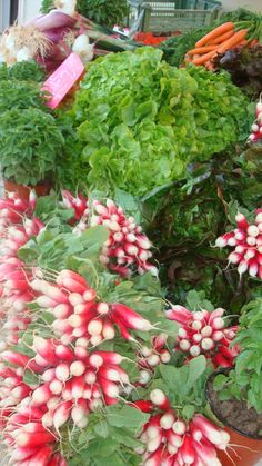 Fresh radishes in the Cassis, France market. They serve them with fresh churned cream butter and sea salt.....yum